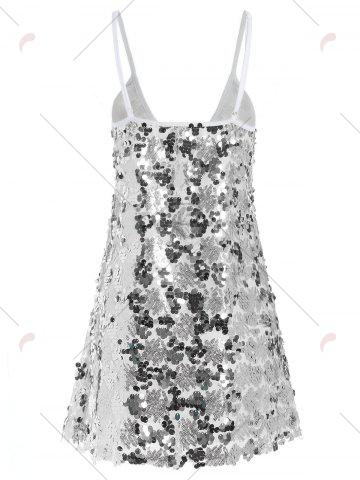 Shop Sequin Glitter Shiny Slip Club Dress - S SILVER Mobile