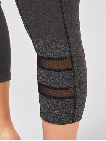 Sale Plus Size High Waist Fitness Leggings with Mesh Panel - XL GRAY Mobile