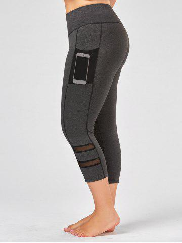 Plus Size High Waist Fitness Leggings with Mesh Panel - Gray - 2xl