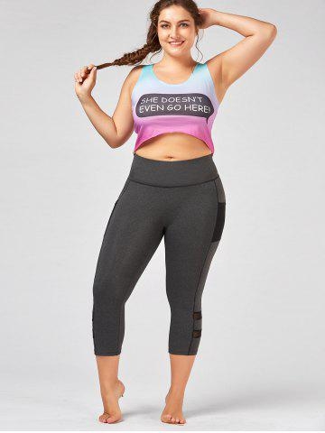 Discount Plus Size High Waist Fitness Leggings with Mesh Panel - 4XL GRAY Mobile
