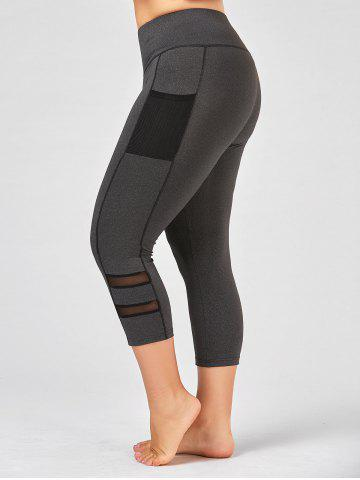 Sale Plus Size High Waist Fitness Leggings with Mesh Panel - 4XL GRAY Mobile