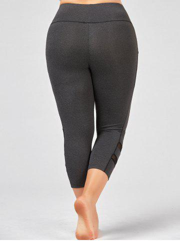 Chic Plus Size High Waist Fitness Leggings with Mesh Panel - 4XL GRAY Mobile