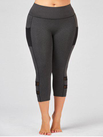 Shops Plus Size High Waist Fitness Leggings with Mesh Panel - 4XL GRAY Mobile