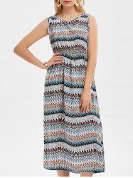 Sleeveless High Waisted Zig Zag Midi Dress