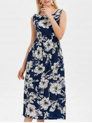 Sleeveless Ornate Floral Print High Waist Dress - CERULEAN