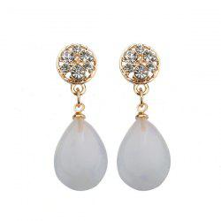 Water Drop Rhinestone Faux Opal Earrings