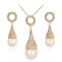 Faux Pearl Rhinestoned Pyramid Jewelry Set