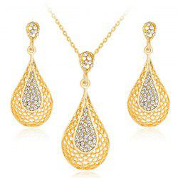 Water Drop Rhinestone Gold Plated Jewelry Set