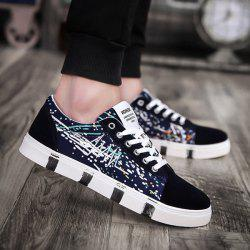 Multicolor Embroider Line Casual Shoes - Bleu Foncé