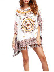 Tribal Print Tassel Batwing Tunic Top