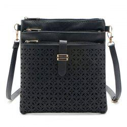 Hollow Out PU Leather Crosbody Bag - BLACK
