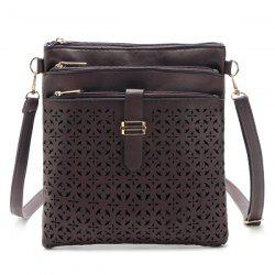 Hollow Out PU Leather Crosbody Bag - COFFEE