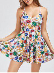 Criss Cross Backless Skirted One Piece Swimsuit