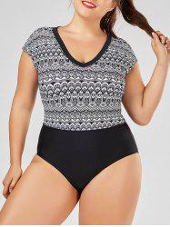 Plus Size V Neck Printed One Piece Swimsuit