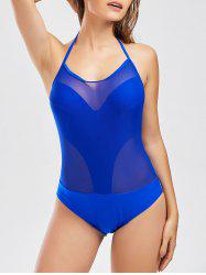 Halter Backless One Piece Mesh Swimwear