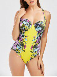 One Piece Floral Backless Underwire Swimsuit