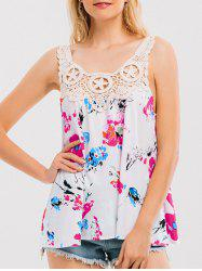 Crochet Lace Insert Floral Print Tank Top