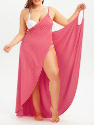 Plus Size Cover Up Beach Wrap Dress - WATERMELON RED 2XL