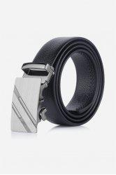 Metal Automatic Buckle Double Diagonal Stripe Belt - BLACK