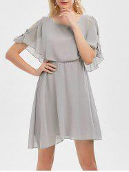 Ruffle Overlay Chiffon Cold Shoulder Dress - GRAY