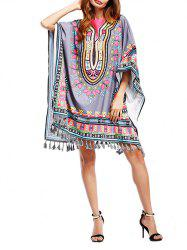 Dashiki Print Batwing Sleeve Poncho Tunic Dress