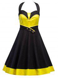 Vintage Contrast Panel Halter Dress