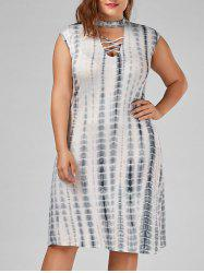 Sleeveless Criss Cross Tie Dye Plus Size Dress