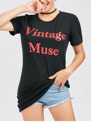 T-shirt Tunique T-shirt Casual - Noir S