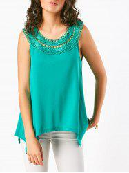 Crochet Lace Insert Irregular Sleeveless T-Shirt