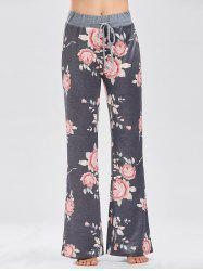 Casual Floral Print Drawstring Pants - DEEP GRAY