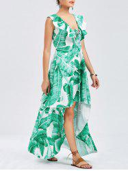 Ruffle Tropical Print High Low Robe - Vert