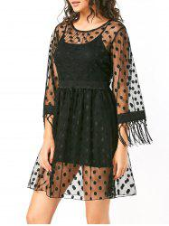Polka Dot High Waist Sheer Lace Dress - BLACK