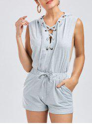 Hooded Drawstring Lace Up Costume - Gris