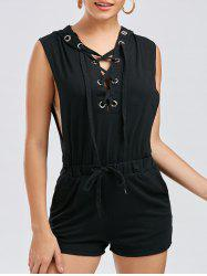Hooded Drawstring Lace Up Playsuit -