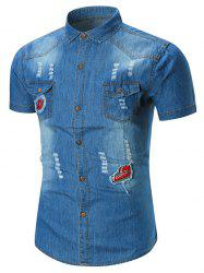Applique Distressed Pocket Denim Shirt