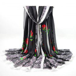 Retro Imitation Silk Rose Printed Smooth Scarf