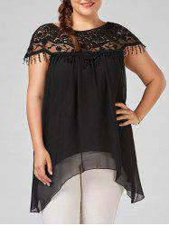 Plus Size Asymmetric Fringe Chiffon Tunic Top