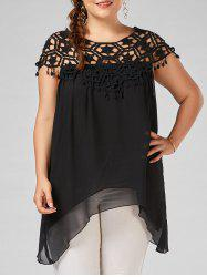 Plus Size Asymmetrical Crochet Trim Chiffon Tunic Top