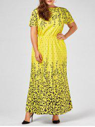 Leaf Print Short Sleeve Plus Size Maxi Evening Dress