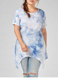 Asymmetrical Tie Dye Plus Size Tunic Top