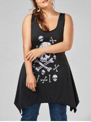 Plus Size Skull Print Tunic Tank Top - Black - 5xl