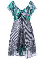 Plus Size Twist Bust Graphic Flowy Dress -