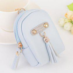Faux Leather Tassel Coin Purse Key Chain - Bleu clair
