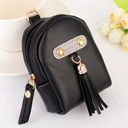 Faux Leather Tassel Coin Purse Key Chain - Noir