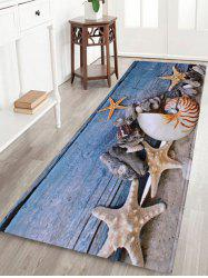 Conch Starfish Coral Velvet Skidproof Bath Rug - BLUE GRAY