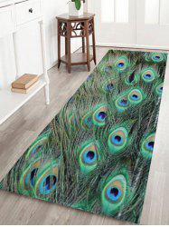 Non-slip Coral Velvet Peacock Feather Bath Rug - MALACHITE GREEN