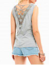 Hollow Out Lace Insert Tank Top