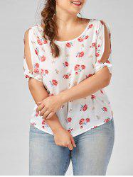 Floral Split Sleeve Plus Size Top - White - Xl