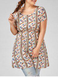 Plus Size Short Sleeves Printed Tunic Top