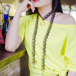 Alloy Circle Long Lace Choker Necklace